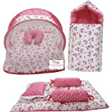 Infantbond Combo of Baby Bed with Net | Carry Bag | 4 Pcs Bedding Set(0-6 Months) (Star & Moon Pink)