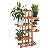 Relaxdays Blumenregal aus Holz, 5 Ebenen, Blumenständer für innen, Mehrstöckig, HBT: ca. 125 x 81 x 25 cm, hellbraun