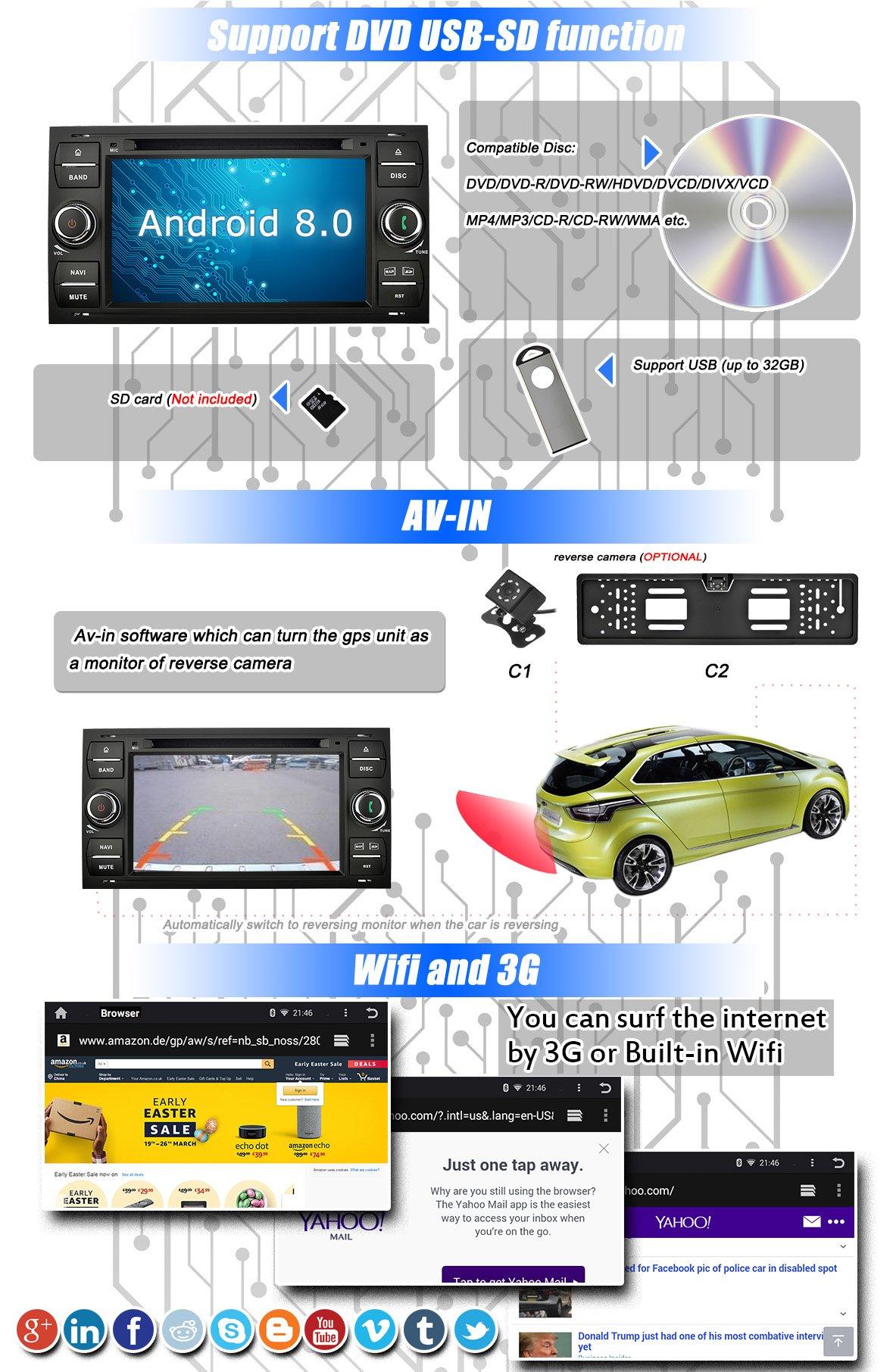 Ohok-7-Zoll-Bildschirm-2-Din-Autoradio-Android-800-Oreo-Octa-Core-Radio-mit-Navi-Moniceiver-DVD-GPS-Navigation-Untersttzt-Bluetooth-DAB-fr-Ford-Focus-Schwarz-mit-Rckfahrkamera