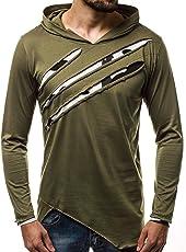 OZONEE Herren Longsleeve Kapuze Langarmshirt Sweatshirt Motiv Modern Täglichen Sport Camouflage O/1220