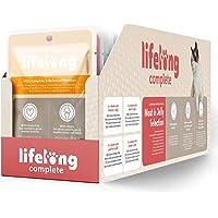 Marchio Amazon - Lifelong Alimento completo per gatti adulti- Selezione di carne in in gelatina 2,4 kg (24 sacchetti x…