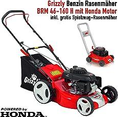 Grizzly Benzin Rasenmäher mit HONDA Motor, 46 cm Schnittbreite, Stabile Stahlkonstruktion, Inkl. Kindermäher