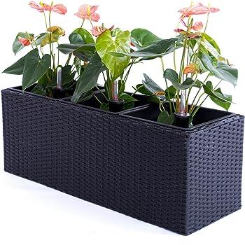 Pflanztopf Blumentopf Pflanzkasten Blumenkasten Polyrattan Rechteck LxBxH 82x30x30cm schwarz