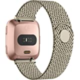 Recoppa for Fitbit Versa Strap,Stainless Steel Metal Mesh Bands with Unique Lock Compatible for Fitbit Versa/Versa 2/ Versa Lite/Versa SE, Small Large Women Men