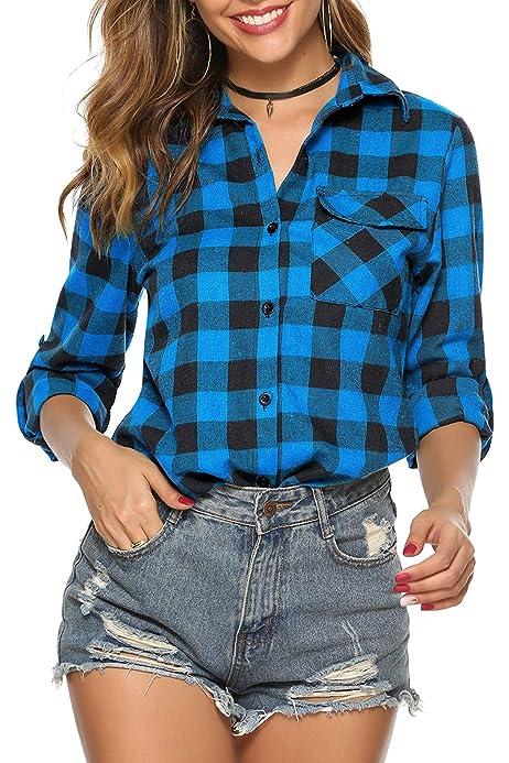 Hawiton Camisas Cuadros Mujer Blusas Franela de Manga Larga ...