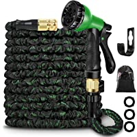 Expandable Garden Hose Pipe 100 FT,Solid Brass Fittings- Flexible Expanding Hose with 8 Function Spray Nozzle (Black…
