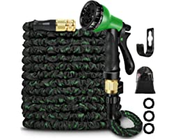 Expandable Garden Hose Pipe 100 FT,Solid Brass Fittings- Flexible Expanding Hose with 8 Function Spray Nozzle (Black-Green)
