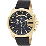 Diesel Men's Mega Chief Quartz Stainless Steel and Leather Chronograph Watch, Gold-Tone, (Dz4344), Black Band