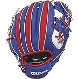 Wilson, Baseball, Guanto A200 MLB, Per mano destra, Dimensioni: 10'' (25,40 cm), Materiale: EVA, Blu/Rosso/Bianco…