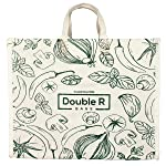 DOUBLE R BAGS Waterproof Large Cotton Canvas Shopping Bags Kitchen Essentials with Full Handles