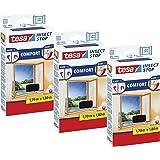 Tesa Insect Stop Comfort Insectengaas voor raam, met klittenband, zelfklevend, bevestiging zonder boren, 170 x 180 cm, set va
