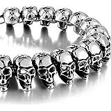 Urban Jewelry - Bracciale da uomo in acciaio INOX 316L, stile gotico con testa di teschio, 21,5 cm, colore: Argento