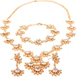 Touchstone Alloy and Faux Pearls, Ruby & Emerald Necklace Set for Women