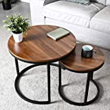 PRITI Coffee Table for Living Room, Set of 2 Nesting Side Coffee Tables, Stable and Easy Assembly, Wood Tabletop with Metal F