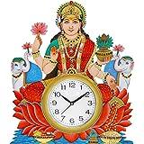 Shiva Arts Handpainted UV Printed Designer Godess Laxmi Wall Clock for Living Room/Home/Office(Multicolour 14 * 16 Inch)