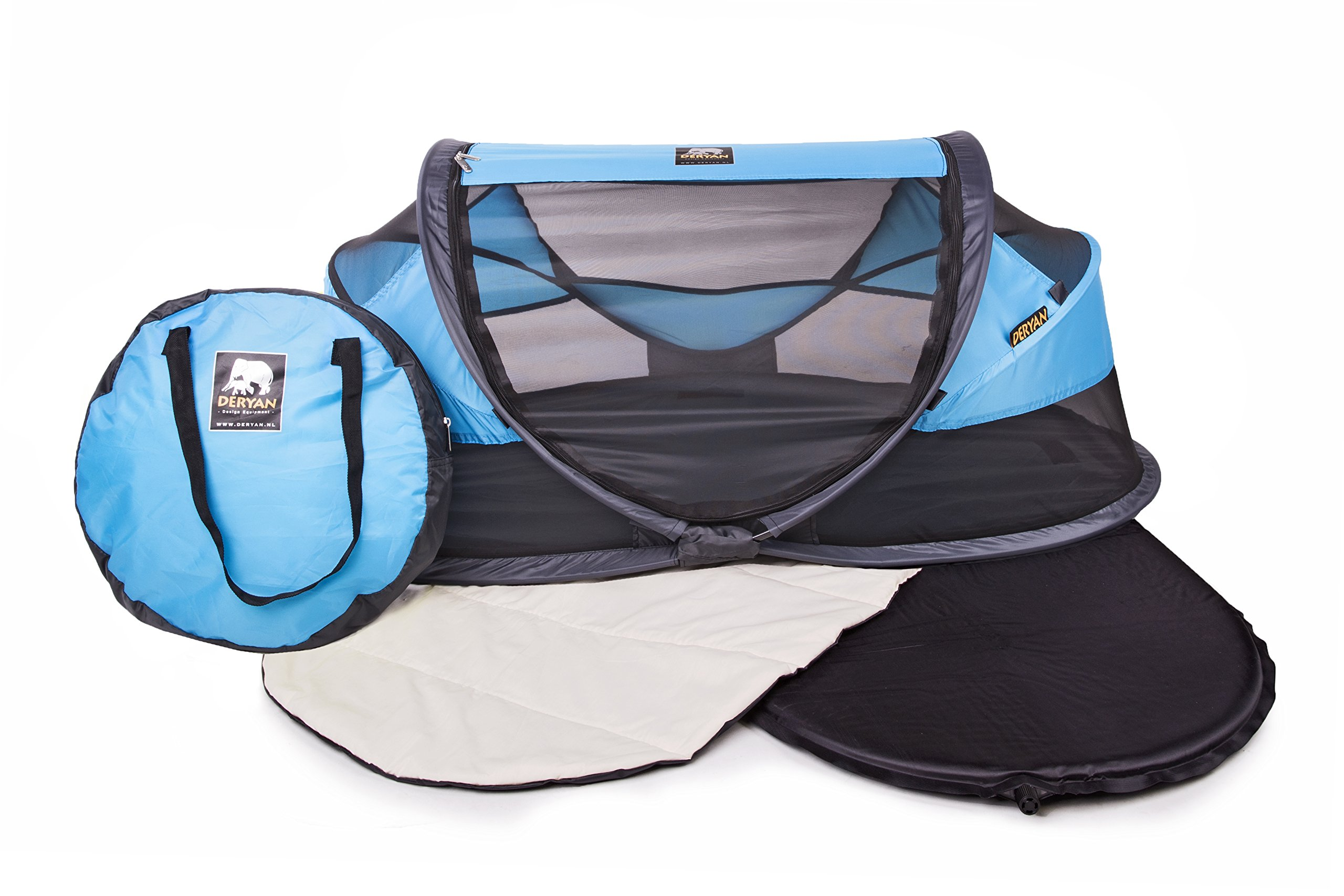 Deryan travel cot / travel cot Baby Luxe travel tent including sleeping mat, self-inflatable air mattress and carrying bag with pop-up built within 2 seconds, Blue Deryan 50% UV Protection and flame retardant fabric Setup in 2 seconds and a anti-musquito net  3