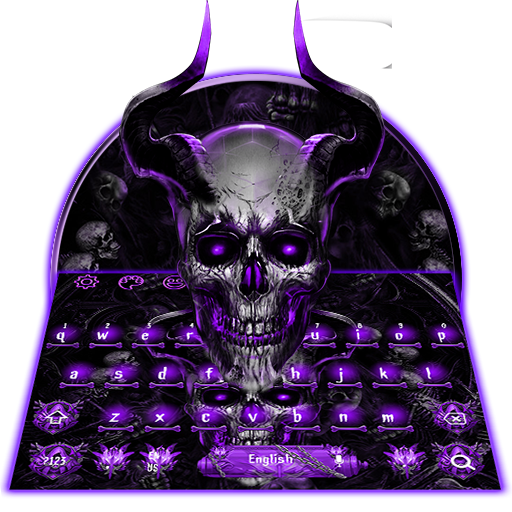Purple Skull Horn Keyboard Theme