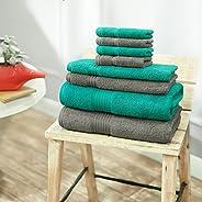 Swiss Republic Signature 8 Piece 630 GSM Cotton Towel Set - Grey and Green