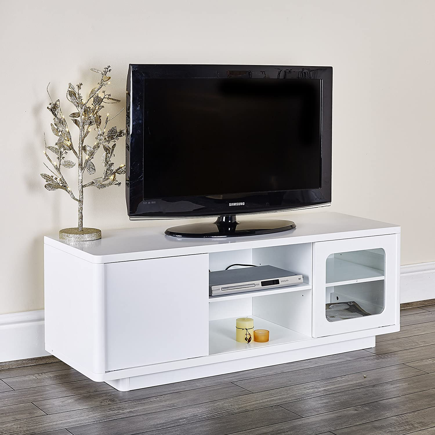 Abreo TV Unit Cabinet Entertainment Stand with Shelves Sliding ...