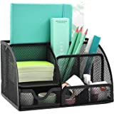 FLYNGO 7 Compartment Metal Mesh Desk Organizer Pen Pencil Holder Stand Stationary Organiser for Home, Office, and Study Table