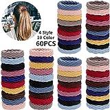 60 elastici per capelli in cotone senza cuciture, per code di cavallo, senza pieghe, per donne e ragazze, 4 stili