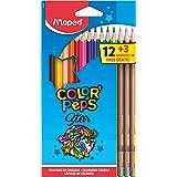 Maped 832272 – 12 matite colorate, colori 'PEPS e 3 matite GRAPH'PEPS