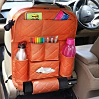 AllExtreme EXFTEXT Universal PU Leather Car Back Seat Organizer with Foldable Table Tray Backseat Bottle Tissue Holder…