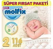 Molfix 3D Bebek Bezi Mini 2 Beden, Super Fırsat Paketi 116 Adet
