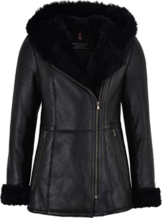 Smart Range Giacca in Montone Shearling Volley B3 Flying Black Fur Hooded NV-39