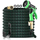OUTAD 50FT Expandable Garden Hose Pipe with 8 Function Spray Nozzle and Water Pipe Storage Rack, Nylon Shell Protection - Lig