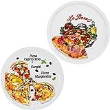 Van Well 2er Set Pizzateller Napoli & Margherita groß - 30,5cm Porzellan Teller mit schönem Motiv - für Pizza/Pasta, den 'großen Hunger' oder zum Anrichten geeignet