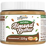 Alpino Natural Almond Butter 220 G | Unsweetened | Made with 100% Dry Roasted Almonds | 30% Protein | No Added Sugar | No Add