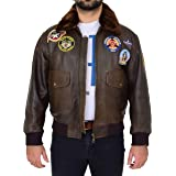 Mens Leather Bomber Jacket Air Force Pilot Aviator Top Gun Style Lester Brown