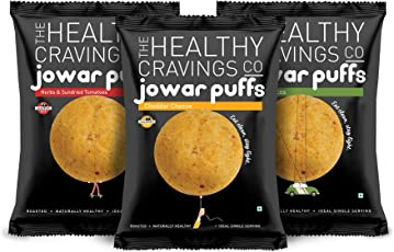 Healthy Cravings Premium Crunchy Jowar Puffs (6 Packs, 150g) - Indian Spices (50g) + Cheddar Cheese (50g) + Herbs & Sundried Tomatoes (50g)