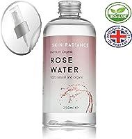 Botella de agua de rosa premium de Skin Radiance® – grande 250 ml de agua de rosa pura con boquilla de pulverización