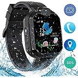 Montre Intelligente Smartwatch, Montre téléphone pour Enfants pour Fille Garçon LBS Tracker Jeux/SOS/Alarm,Compatible iOS Android (Noir)