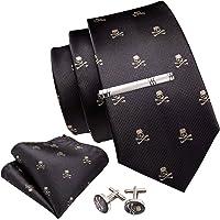 Barry.Wang Formal Business Ties for Men Plaid Checkered Handkerchief Cufflinks
