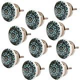 Knober Set 10 stuks meubelknoppen keramiek Mandala Energy Shabby-Chic kastknoppen deurgreep (10 X Petrol 07)