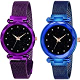 Acnos Black Round Diamond Dial with Latest Generation Purple & Blue Magnet Belt Analogue Watch for Women Pack of - 2 (DM-PURP