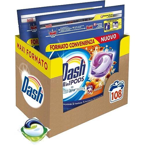 Dash Pods Allin1 Detersivo Lavatrice in Capsule Ambra, Maxi Formato da 54 x 2 Pezzi, 108 Lavaggi