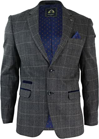 Mens Grey Check Herringbone Tweed Vintage Fit Blazer Jacket Blue Velvet Trim