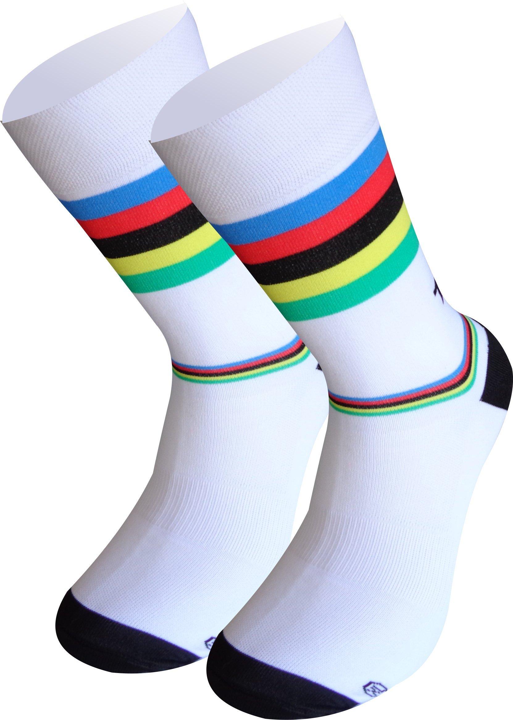 Borvelo Unisex Calze ciclismo Compression Bici Calzini Estivi Traspiranti Racing Sport Calzino Antiscivolo MTB Bicicletta Socks per Outdoor Allenamento Trekking Corsa Fitness