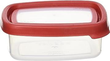 علبة حفظ طعام مربعة من وام سيل ات - أحمر، 440 مل - شفاف / أحمر