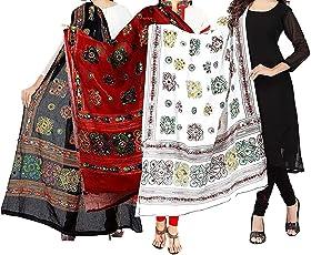 MRV MACY FASHION Women's Cotton Pack Of 3 Dupatta (mirav dupatta_0011 _multicoloured_ Free Size)