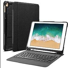 OMOTON Abnehmbare Bluetooth Tastatur Hülle, Deutsches Layout QWERTZ Wireless Keyboard Case Cover für Das iPad Air, Air 2, iPad Pro, iPad 2017 und Das Neue iPad 2018,Schwarz
