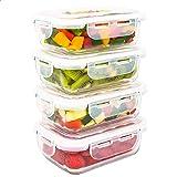 LG Luxury & Grace Lot de 4 Boîtes Alimentaires en Verre 360 ML. Récipient Hermétique. Boîtes de Conservation pour Micro-Ondes