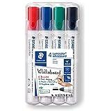 STAEDTLER 351 WP4 Lumocolor marker tablicowy z końcówką, wielokolorowy, 4 sztuki