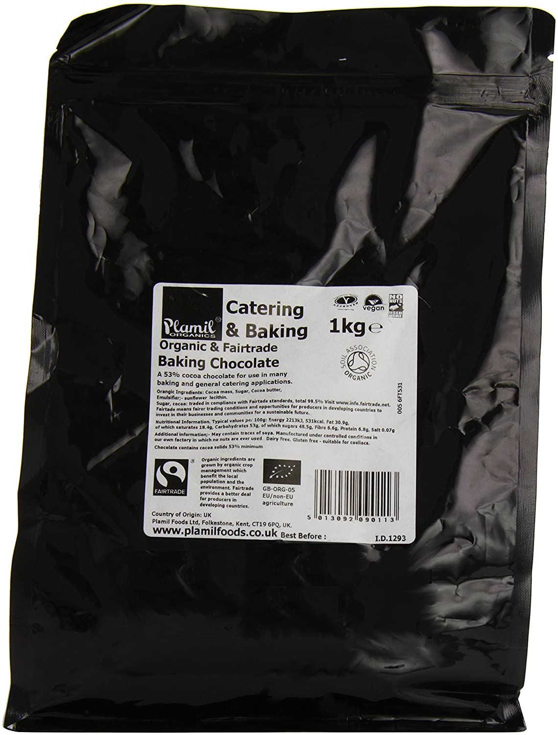 Plamil Organic and Fairtrade Baking Chocolate 1 kg (Pack of 1 ...