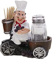 EZ Life Fat Foodie Chef Resin Holder - Salt Pepper Shakers with Toothpick Holder-Brown