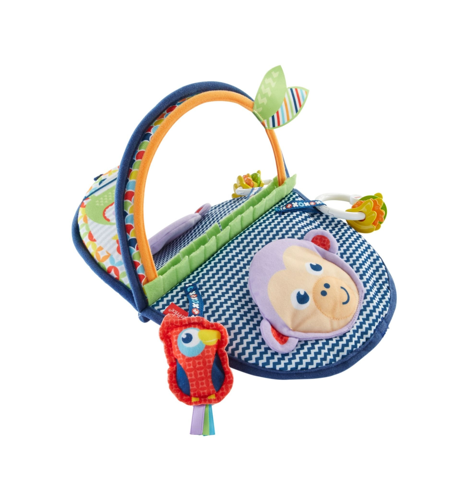 Fisher-Price Monkey Mirror, New-born Tummy Time and Sit Sensory Toy with Textures and Colours, Suitable from Birth 1